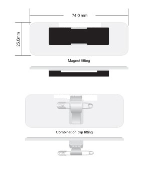 Rectangle name badge with fittings